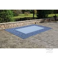 Patio Mat, Polypropylene, Greek Motif Design, 6'x9', Navy/Light Blue